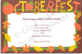 "The border of this invitation says it all... ""OCTOBERFEST!"" Enjoy this invitation for this favorite of German holidays celebrated each fall. Premium quality cardstock includes coordinating envelope shown. Inkjet/laser compatible and available blank or personalized."